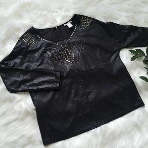 Alberto Makali Black Studded Zipper Back Blouse